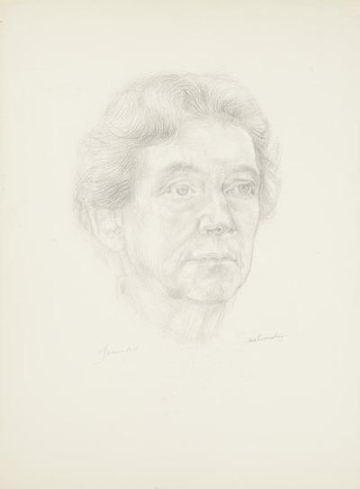 Een tekening getiteld 'Portret JBO' (Jeanne BO).