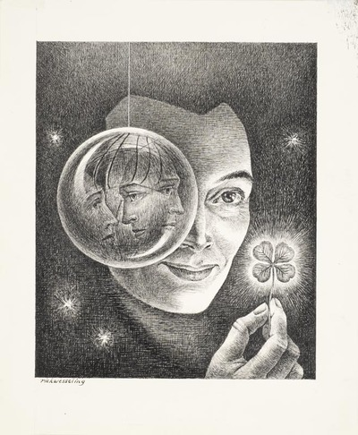 Een inkttekening getiteld 'Obsessie met sterren', 1980.