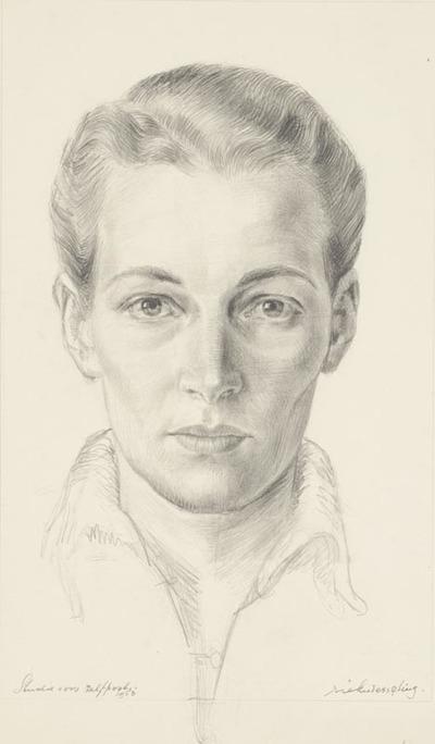 Een tekening getiteld 'Studie voor zelfportret', 1953. (Zie HP 01882 'Spiegelbeeld met Bas').