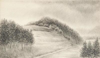 Een tekening van een berglandschap, 1974.