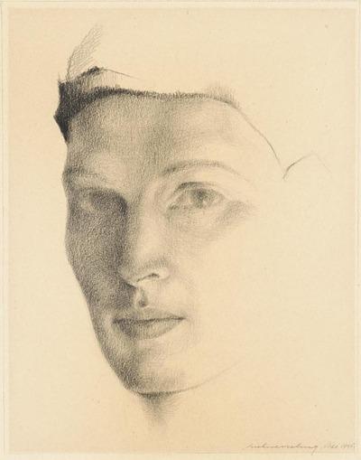 Een tekening getiteld 'Portret met band', 1945.