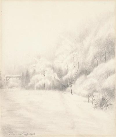 Een tekening getiteld 'Tuin in de sneeuw 's Graveland 1947'.