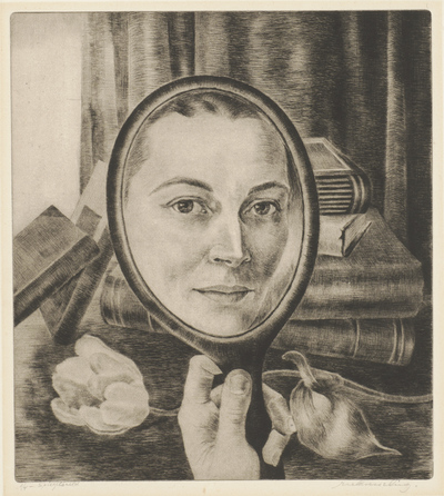Een naaldgravure (?) getiteld 'Spiegelbeeld'.