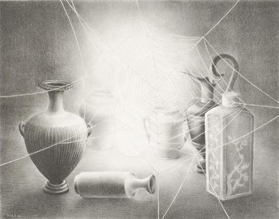 Een litho getiteld 'Zeven vazen'.