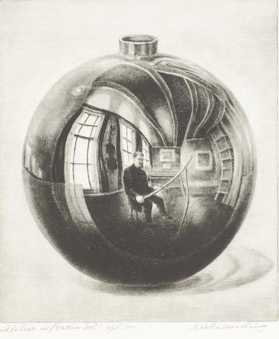 Een naaldgravure uit 1969 getiteld 'Atelier in glazen bol', opl. 15.