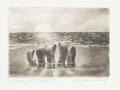 Een naaldgravure uit 1977 getiteld ,,Strand II, opl. 15.