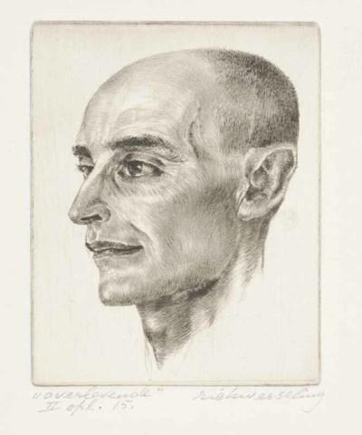 Een naaldgravure getiteld 'Overlevende', 1976.
