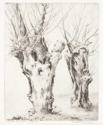 Een naaldgravure getiteld 'Oude bomen'.