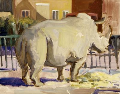 Een olieverfschilderij op paneel uit 1996 waarop een neushoorn afgebeeld is. Dit schilderij is nummer 2 uit de serie van twintig schilderijen Circus, Florilegio di Darix Togni