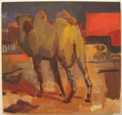 Een olieverfschilderij op paneel uit 1996 waarop een kameel afgebeeld is. Dit schilderij is nummer 10 uit de serie van twintig schilderijen Circus,Florilegio di Darix Togni .