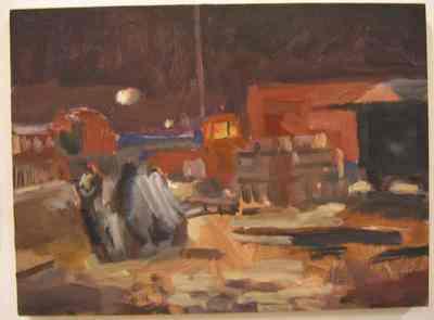 Een olieverfschilderij op paneel uit 1996 waarop een circuskamp met vrachtwagen bij avond afgebeeld is. Dit schilderij is nummer 12 uit de serie van twintig schilderijen Circus,Florilegio di Darix Togni .