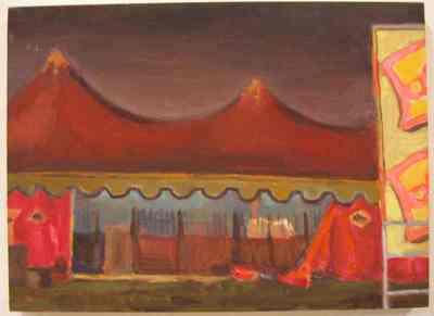 Een olieverfschilderij op paneel uit 1996 waarop een circustent bij avond afgebeeld is. Dit schilderij is nummer 14 uit de serie van twintig schilderijen Circus,Florilegio di Darix Togni .