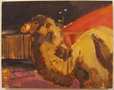 Een olieverfschilderij op paneel uit 1996 waarop een dromedaris afgebeeld is. Dit schilderij is nummer 18 uit de serie van wintig schilderijen Circus,Florilegio di Darix Togni .