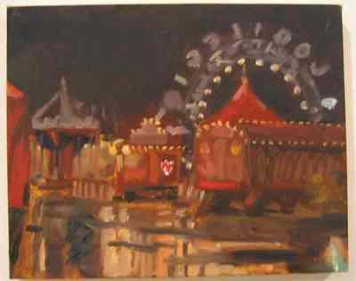 Een olieverfschilderij op paneel uit 1996 waarop een circustent bij avond afgebeeld is. Dit schilderij is nummer 20 uit de serie van twintig schilderijen Circus,Florilegio di Darix Togni .