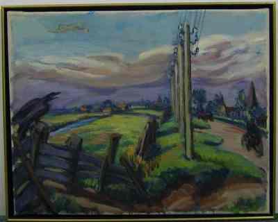 Een schilderij getiteld 'Eemnes'.