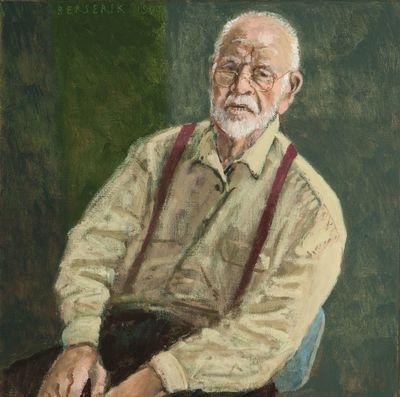 Een schilderij voorstellend een zelfportret van Herman Berserik, 1993.