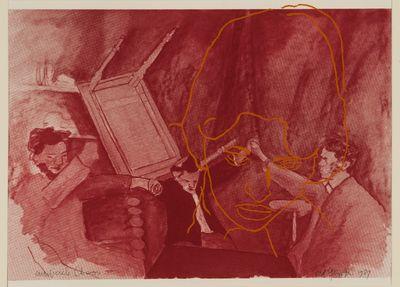 Kleuren studie voor het schilderij 'Artificiële chaos', in de kleur rood.