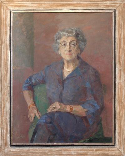 Een portret van mevrouw Henriette Polak-Schwarz vervaardigd door Joop Sjollema.
