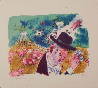 Een kleurenlitho van Jan Mensinga bij een Japans senryu getiteld 'Oranda no'. De tekst van de senryu is ontleend aan Frits Vos' artikel 'Het dagelijks leven der Nederlanders op Deshima' dat verscheen in 'Vier eeuwen Nederland-Japan, De tijdstroom, 1983.