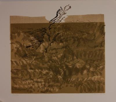 Een kleurenlino van Jaromira (Billha Zussman) bij een tekst ontleend aan Itzik Mangers verzamelde werken (Parijs 1951). 'Dos lid fun der goldener pawe' van Itzik Mangers maakt deel uit van de Megillah-Lieder die in 1936 verschenen.