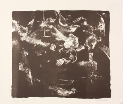 Een lithografie van Agatha Koers bij een gedicht van Louis Pinto (pseudoniem van N.H. Baarse, 1921) getiteld 'Een man fluit in de nacht'.