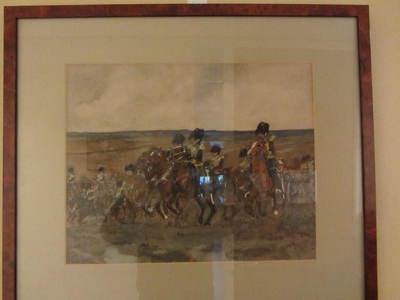 aquarel achter glas van groep Rijders te paard in ceremoniële tenue en bataille