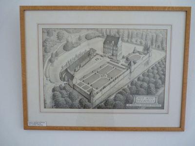 Het Huis Welbergen van boven gezien. Rechtonder in een kader de naam van het voorgestelde en de stichting die de eigenaar is.