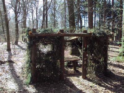De Stichting Kunst in Putten (SKIP) organiseerde in 2011 een LAND ART project in het Puttense buitengebied. samen met scouts is deze hut gebouwd. De kinderen wilden een hut van waaruit je wild zou kunnen zien. Maar ook van buiten naar binnen zijn er dierfiguren zichtbaar. Kinderen mogen iets veranderen of toevoegen aan de hut.