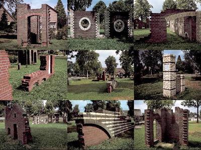Follies, kleine bouwwerkjes zonder functie, als architecturaal grapje of als een miniatuur staaltje vakmanschap, hadden in de 16e eeuw vaak een plaats in de Engelse landschapstuin. Op de Brink in de Beemte staan acht kleine bakstenen bouwsels die een beetje aan zulke follies doen denken. Een geveltje met boogjes en een muurtje met rafelige randen die onmiddellijk herinneren aan een ruïne. Wie het veldje vluchtig bekijkt zou nog even kunnen denken dat het een grote ruïne is, van een miniatuurkasteel misschien. Maar niets is minder waar. Ferry Staverman ontwierp de bouwsels stuk voor stuk in 1999, speciaal voor de Zilveren Troffelwedstrijd die dat jaar werd gehouden. Vandaar de aandacht voor het metselwerk, de diverse metselverbanden en de verschillende kleuren stenen die erin zijn verwerkt. Samen vormen ze niet alleen een spannend en vreemd ensemble, ze doen ook dienst als speelobjecten voor de kinderen uit de buurt. Vakmanschap en spel in een kunstwerk verenigd.