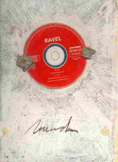 Werk op papier, met opschrift op achterzijde:To Felix with gratitude (=Felix Valk). Marcos S; Gemengde techniek met CD waarop muziek van Ravel, o.a. de Bolero. Zonder jaar.