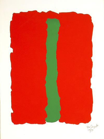Zeefdruk. Nr. 143/190. 1978. Rood vlak met in het midden een groene verticale lijn. Genummerd en gesigneerd, r.o.