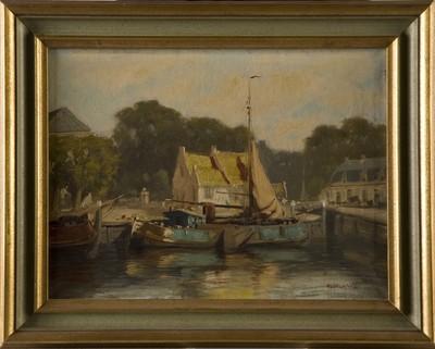 Olieverfschilderij van de haven van Elburg omstreeks 1935