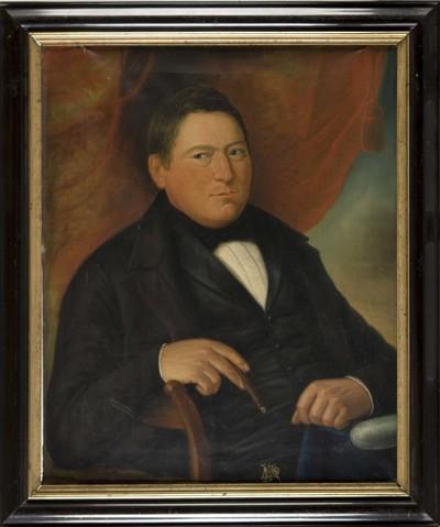 Olieverfschilderij waarop Johannes Knottenbelt zittend is geportretteerd