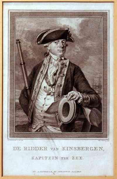 Diepdruk op papier met voorstelling van portret admiraal van Kinsbergen, deel van een kanonsloop is zichtbaar, evenals de tuigage van een schip op de achtergrond