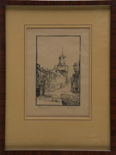 Potloodtekening op papier met stadsgezicht Elburg, met Vischpoort ter hoogte van de touwbaan