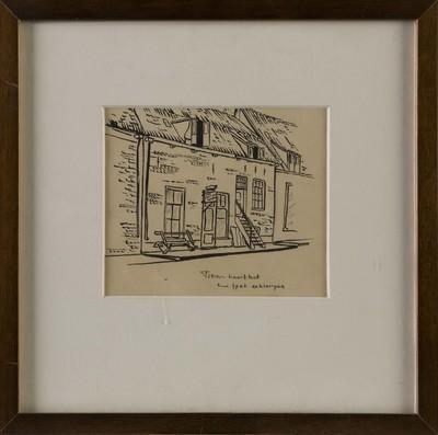 Tekening op papier met afbeelding van het pand van de firma Kruithof, kaas spek en klompen aan de Beekstraat te Elburg