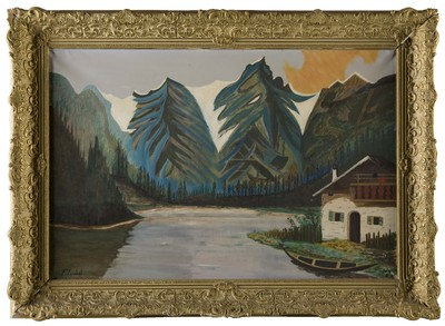 Olieverfschilderij op doek met een berglandschap met huis, bergmeer en in de achtergrond bergen, vervaardigd door F. Leusink, 1958