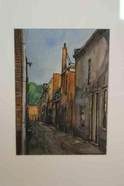 Aquarel op papier van stadsgezicht Elburg met een doorkijk vanuit de Rozemarijnsteeg naar de Westerwalstraat