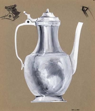 Ontwerptekening van een koffiepot. De pot staat op een voetring, heeft een buik en lange geknepen hals. Uit de buik komt een tuit, de kan heeft een groot oor en een deksel met knopje en duimrust. Links boven een vooraanzicht van de duimrust; rechtsboven een tekening van de mond van de tuit.