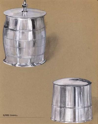 Ontwerptekening van twee tabakspotten, linksboven een pot in de vorm van een ton met horizontale lijnen en een deksel met knop, rechtsonder een taps toelopende pot met een horizontale ribbel, met deksel zonder knop.