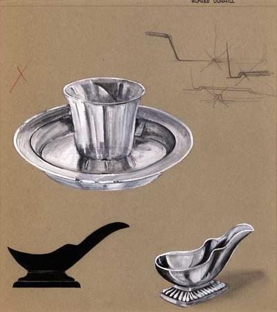 Ontwerptekening van een pijprust op een rechthoekige voet met reliëf, links een pijpehouder in silhouet en boven een asbak met sigarettenhouder ineen. Rechtsboven enkele schetsen van de doorsnede van de asbak.