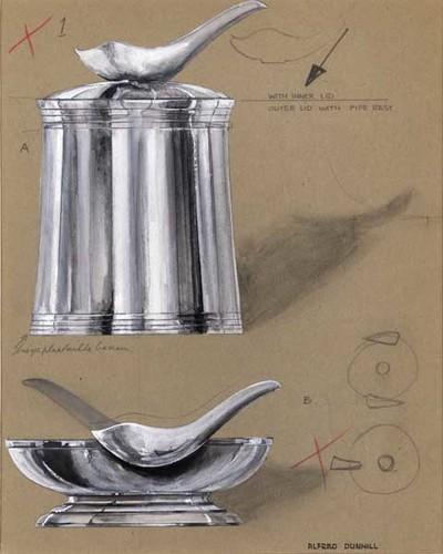Ontwerptekening van een ronde schaal op geribbelde voet, met pijprust. Boven een taps toelopende tabakspot met deksel met pijprust. Langs de onder- en bovenkant zijn vier gegraveerde, horizontale lijnen aangebracht.