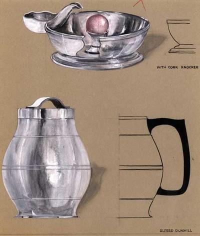 Ontwerptekening van een tabakspot met buik en deksel met handgreep in de vorm van een lint; boven een tekening van een asbak met pijprust en in het midden een bol van kurk, om de pijp tegen uit te slaan. Rechtsonder een profiel van een tabakspot met groot oor.