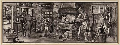 Ontwerptekening van het interieur van een smederij met rechts een man met hamer bij het aambeeld; in het midden het vuur, links daarvan een kind, dat de blaasbalg bedient en geheel links een man aan de werkbank; in de deuropening staat een hond.