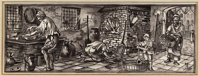 Ontwerptekening van het interieur van een bakkerij; links bewerkt de bakker het deeg; midden achter de brandende oven met een blaasbalg, rechts komt een vrouw met een boodschappenmand binnen en op de voorgrond roert een kind in een grote kuip met beslag.