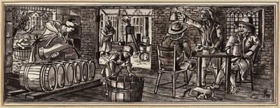 Ontwerptekening van het interieur van een kuiperij; op de voorgrond links vult een man zes liggende tonnen met water; in het midden worden de duigen in een kuip bevestigd, rechts zitten 3 mannen aan tafel, ieder met een pul, aan hun voeten ligt een hond.