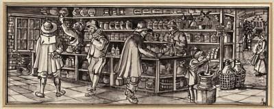 Ontwerptekening van het interieur van een apotheek of kruidenwinkel; achter de toonbank staan 2 personen, één met een fles en één met een weegschaal, rechts hiervan stampt een kind in een vijzel; voor de toonbank staan 3 personen, waarvan één een drankje drinkt; door de geopende deur is een wandelende vrouw zichtbaar.