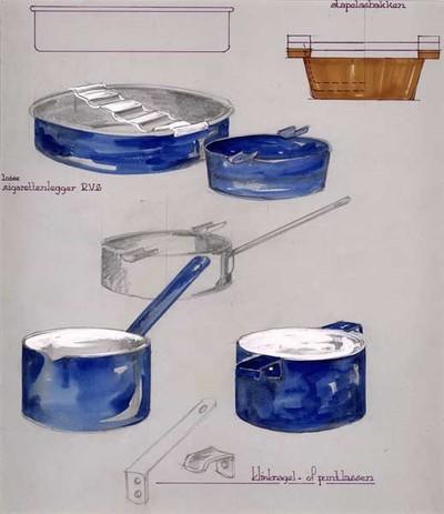 Ontwerptekening van een ronde, blauwe, asbak met omgerolde rand en losse RVS sigarettenlegger, daarboven een zijaanzicht; daarnaast een rond, iets gerend, blauw asbakje met 2 sigarettenleggers; rechtsboven een bruine stapelbare asbak; daaronder in potlood een ronde asbak met 2 sigarettenleggers en een steel; links onder een blauw steelpannetje met tuit en steel met ophangoog; rechts een cilindervormig, blauw pannetje met 2 handgreepjes; onderaan een potloodtekening van een steel en een handgreep, met de tekst: klinknagel- of puntlassen.
