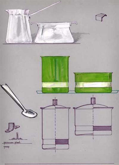 Ontwerptekening van een wit roomstel, taps toelopend en aan de rand verwijdend; het roomkannetje heeft een aangeklonken steel en een schenktuit; de suikerpot heeft twee aangeklonken handgreepjes. Rechts een tekening van zo'n handgreepje. Daaronder een groen cylindervormig roomstel met op 1/3 van de onderkant een iets verdiepte band en een uitlopende rand; daaronder een dwarsdoorsnede van hetzelfde roomstel, echter met een deksel met greep. Links 2 tekeningen van de greep met de tekst: gevouwen plaat en greep. Daarboven een lepel.