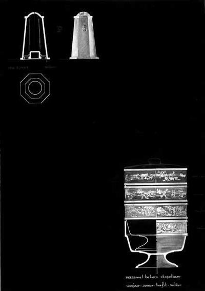 Ontwerptekening van een peper- en zoutvat, achthoekig, naar boven iets versmallend met een eveneens achthoekige rand, waarboven een ronde top met gaatjes; tevens een aanzicht van de achthoekige bodem. Rechtsonder vier gestapelde bekers op brede voet met reliëfband lang de rand. Onder de bekers de tekst: verzamel bekers stapelbaar en voorjaar-zomer-herfst-winter.